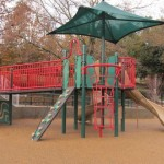 The jungle gym area with slides and shade