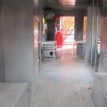 Several places inside the caboose for having lunch