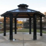 A gazebo near the water, perfect for a wedding or special event