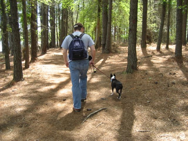 Bill hiking with Jerry at Harris Lake, circa 2008